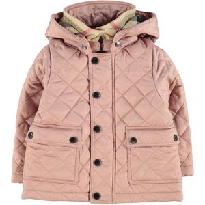 BURBERRY Baby Quilted Hooded Jacket Pale Rose